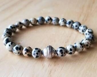 stone bracelet men, beaded bracelet, yoga bracelet, boho jewelry, stacking bracelet, gift for him, husband gift, boyfriend gift, gift dad