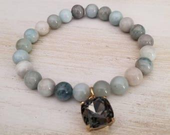 Aquamarine bracelet, beaded bracelet for women, gemstone bracelet, boho jewelry, mothers day gift mom gifts from daughter, stacking bracelet