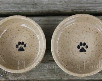 4 Inch Creamy Beige Stoneware Pet Bowl