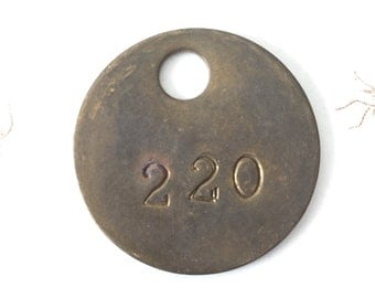Vintage brass cow tag 220