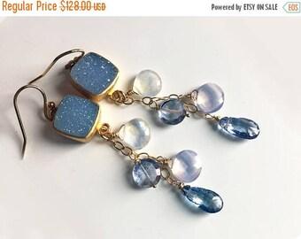 QUICKIE SALE 15% OFF, Blue Druzy Dangle Earrings, Moonstone, Blue Topaz, Scorolite opal, Socialite Dangle Earrings - One available,