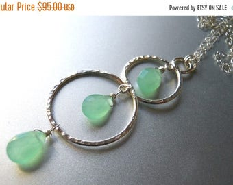 20% off FLASH SALE, Minty Fresh Double Hoop Hammered Sterling Necklace, Hammered Sterling Necklace, Mint Chalcedony Necklace, Mint Green, Ge