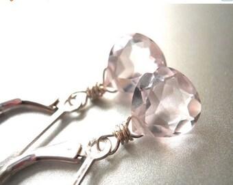 20% off FLASH SALE, leverback earrings, dangle earrings, simple drop, Morganite pink Drop Earrings, Morganite quartz , pale pink earrings,