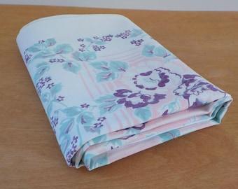 Vintage Mid Century Tablecloth • Floral Mid Century Table Cloth • Tablecloth Aqua Pink Purple