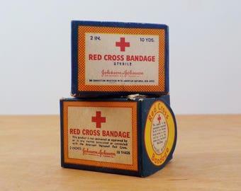 Vintage Red Cross Bandage • 2 Boxes Vintage Johnson and Johnson Medical Gauze • Vintage Medical Decor
