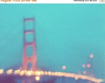 SALE photography, San Francisco photo, Golden Gate Bridge, la nuit, dreamy mint blue night rainy winter, vacation California romantic gold l