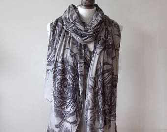 Long blanket scarf, gray roses scarf, cotton jersey shawl, oversized scarf, bohemian wrap, gray grey floral shawl, beach boho cover