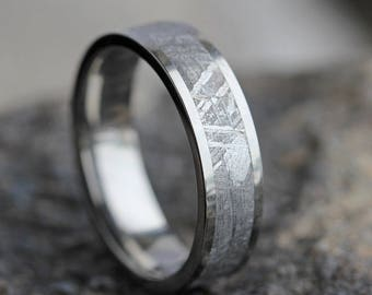 Men's Gibeon Meteorite Wedding Band, Titanium Ring With Real Meteorite Inlay, Personalized Jewelry