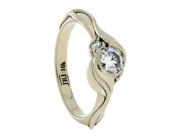Three Stone Engagement Ring With Custom Leaf Pattern, White Gold Ring With Moissanites