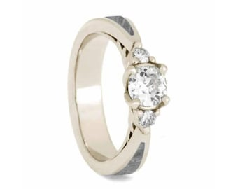 Meteorite Engagement Ring, Three Stone Moissanite in White Gold, Unique Ring With Flower Setting