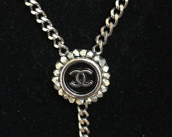 Silver Lariat Necklace with Vintage Chanel Button