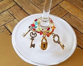 Key to my Heart wine glass charm set of 4, wine accessories, housewarming gift, drink charms