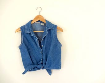 Vintage DENIM Crop Top • 1990s Womens Clothing • Small Medium Sleeveless Tank Collared Tie Front Belly Shirt Midriff Baring Blue Faded Glory
