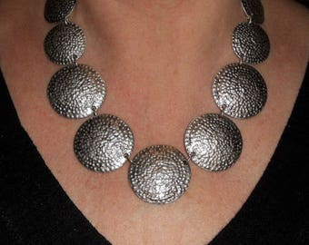 Silver statement necklace, boho chic chunky necklace, metal necklace, metal necklace, necklaces for women, silver jewelry, metal jewelry