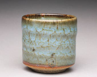 handmade pottery cup, ceramic teacup, espresso cup with light blue glazes