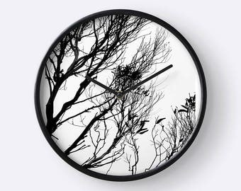 Trees Silhouette in Monochrome Wall Clock