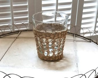8 oz. Glass with woven cane sleeve