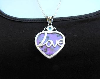 Purple Jasper Heart Love Pendant Necklace