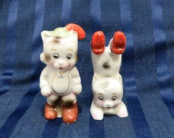 Vintage Cat Figurines/ Puss in Boots & Acrobat/ Made in Japan
