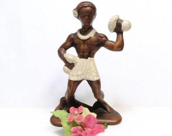 Treasure Craft Hawaiian Male Hula Dancer/ Vintage Ceramic Figurine/ Retro Tiki