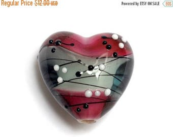 ON SALE 35% OFF New! Handmade Glass Lampwork Bead - 11835705 Diva Party Heart