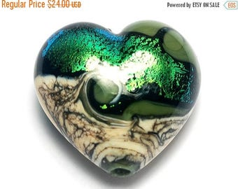 ON SALE 30% off Olivine Heart (Large) - 11834225 - Handmade Glass Lampwork Beads