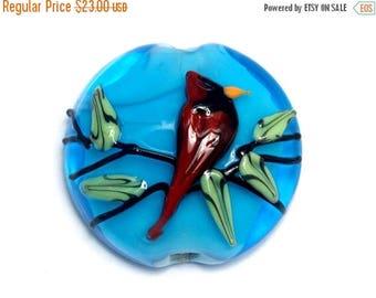 ON SALE 30% off 11834502 Summer Red Cardinal Lentil Focal Bead - Handmade Glass Lampwork Bead
