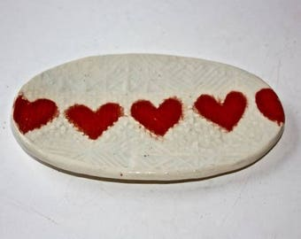 Valentine Stoneware Trinket Dish Embossed with Lace Heart Motif White Stoneware with Glossy, Clear Glaze