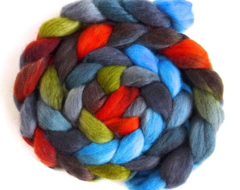 Corriedale Wool Roving - Hand Painted Spinning or Felting Fiber, Campfire Nights