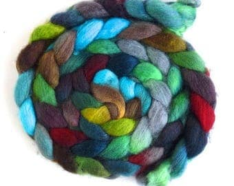 BFL Wool Roving - Hand Painted Spinning or Felting Fiber, Glimpse of a Cardinal