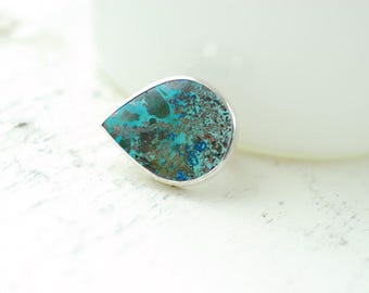 Shattuckite Ring, Blue Stone Ring, Green Malachite, Azurite Jewelry, Large Boho Ring, Teardrop Gemstone, Pear Shaped Ring, Bold Womens Gift