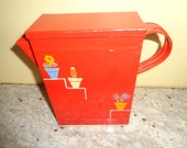 "Vintage Laundry Ransburg tin Soap powder detergent Pitcher 8"" Never used with Ransbug sticker"