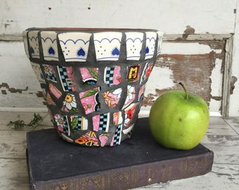 Broken China Mosaic Flower Pot - 6 Inch Mary Englebreit Pottery - Snap Out of It!