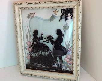 Vintage Silhouette Framed Picture Woman and Gentleman Courting Couple Scene Landscape Background 1940s
