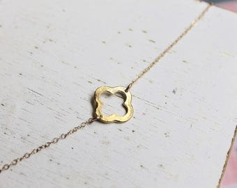 WELCOME BACK Best Seller, 14k Gold Filled, Clover, Quatrefoil, Everyday Wear, Perfect Gift, Delicate & Simple