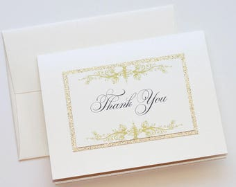Glitter Thank you Cards - Personalized Stationery - Wedding Thank you cards - Vintage Note cards - Ivory and Gold - Custom Thank you cards