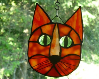Cat Face Stained Glass  in Beautiful Orange green eyes