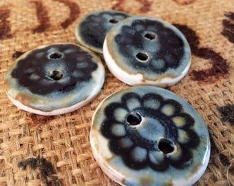 Bloom Ceramic Blue Floral Buttons- Set of 4