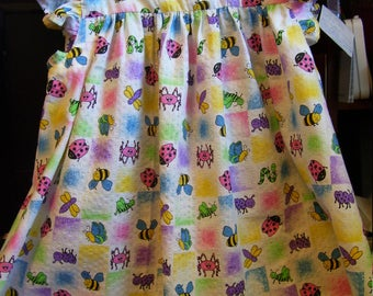 girl's pinafore dress with ruffled cap sleeves  size 4-5 OOAK fresh cotton bug print
