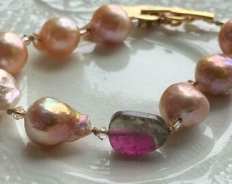 Watermelon Tourmaline and Baroque Pearl Bracelet