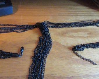 many strand black tassel necklace