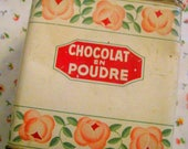 Vintage Tin,  Shabby Chic Tin, Kitchen Storage, Collectable Tin, Drinking Chocolate, French Florals, Country Chic, Country Cottage Chic,