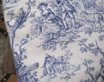 Vintage Fabric, Toile de Jouy,, Blue And White Toile Fabric, French Jouy Print, Pastoral Fabric, Toile Fabric, Fabric And Notions, Fabric