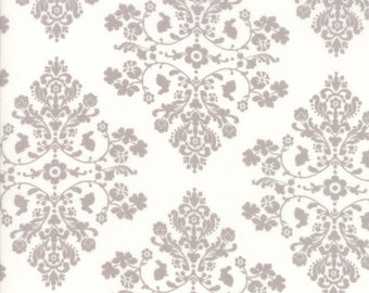 Lily Will Revisited Grey Cream Damask Medallion fabric | Moda fabric 2802 47 | Cotton Quilting fabric