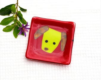 Fused glass art plate, small, square, dog, pet, whimsical, red, green and brown