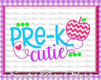 Pre K Cutie SVG Pre Kindergarten cut file Last Day of School SVG and DXF Files Silhouette Studios, Cameo, Cricut, Instant Download Scal