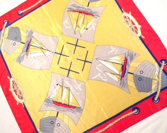 Vintage Scarf, Silk Scarf, Nautical Scarf, Schooners Under Full Sail, Yellow and Red Silk Scarf, Lightweight Silk Scarf, Resort Scarf