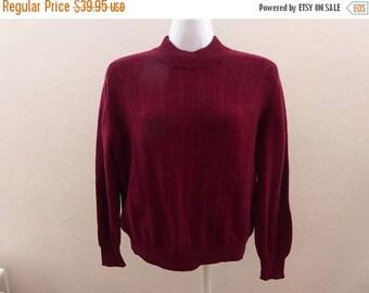 Vintage 50s 100% Cashmere Sweater Size M Burgundy Red Mock Turtleneck Rex Ribbed