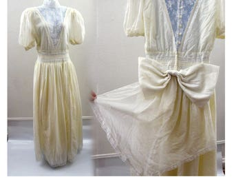 Vintage 70s Gunne Sax Wedding Dress Size L Cream White Lace Hippie Boho Prairie
