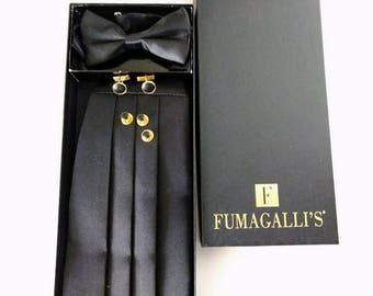 Mens cumberbund Set, Tuxedo Formal Attire, Belt and Bowtie Vintage Man, size 31 to 33 inches, black and gold cufflinks shirt studs Fumagalli